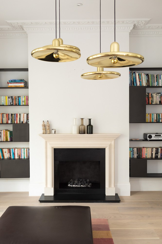 Peter Morris Architects HAMMERSMITH HOUSE living room sheleves fire place