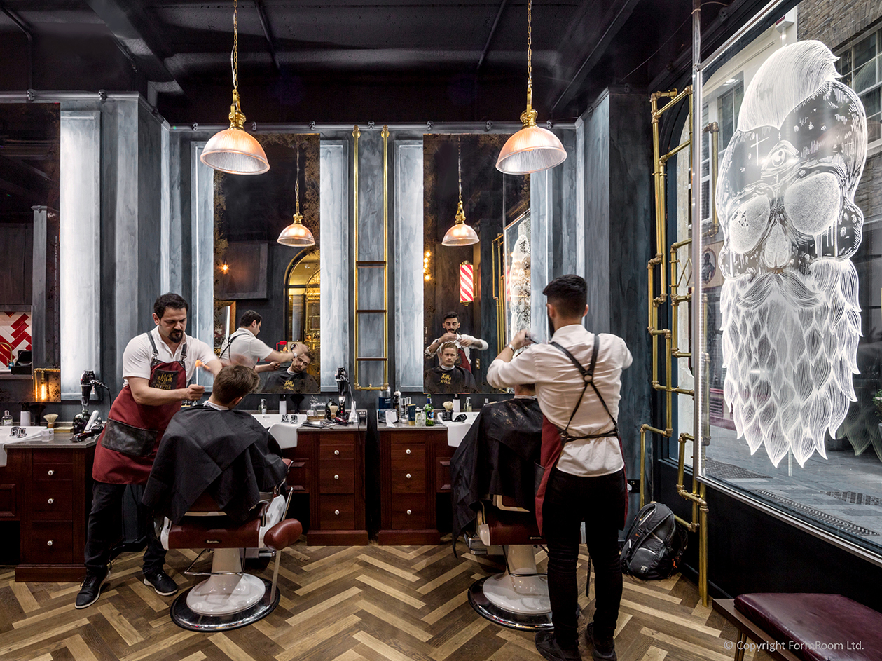 Peter Morris Architects - Hair Salon - barber skull window