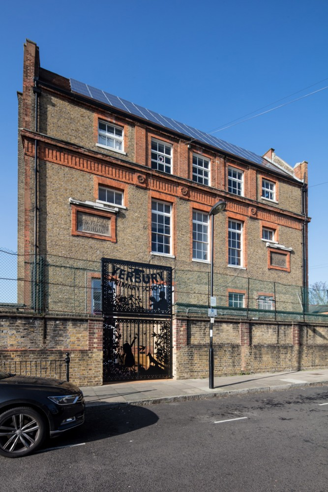Peter Morris Architects YERBURY PRIMARY SCHOOL gate angle lasre cut